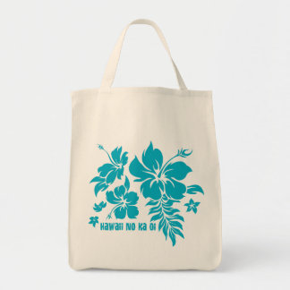 Hibiscus Pareau Hawaiian Floral in Turq for Totes