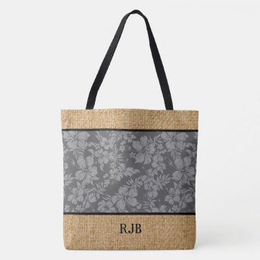 Beach Themed Hibiscus Pareau Hawaiian Monogram Beach Bag