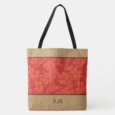 Beach Themed Hibiscus Pareau Hawaiian Monogram Beach Bag