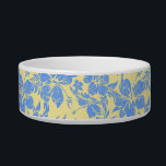 "Hibiscus Pareau Hawaiian Pet Bowls<br><div class=""desc"">This vintage hibiscus flower textile was inspired by the aloha shirts of the 40&#39;s and 50&#39;s. Customize the bowl with your pet&#39;s name in English,  Hawaiian or the language of your choice! These designs come in several colorways.</div>"