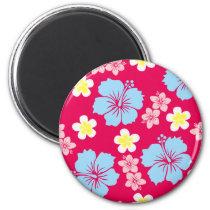 hibiscus, pattern, illustrations, Ímã com design gráfico personalizado