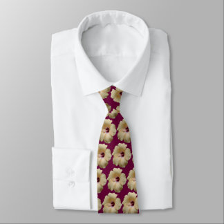 Hibiscus Pattern Double Sided Plum Neck Tie