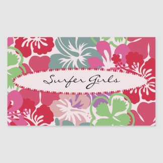 Hibiscus Pattern Rectangular Sticker