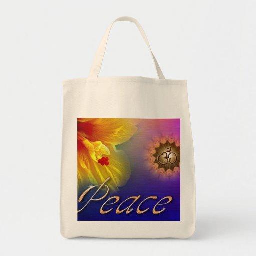 Hibiscus Peace Om Organic Shopping Bag