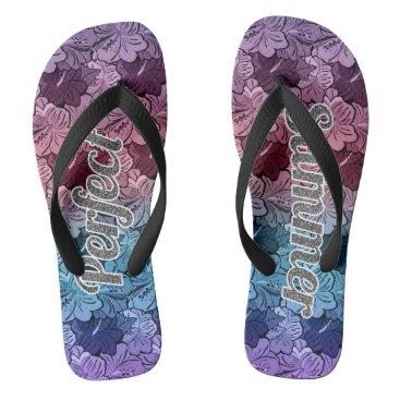 Hawaiian Themed Hibiscus Perfect Summer Glitter Effect Flip Flops