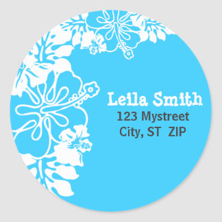 HIBISCUS PERSONALIZED ADDRESS LABEL STICKERS
