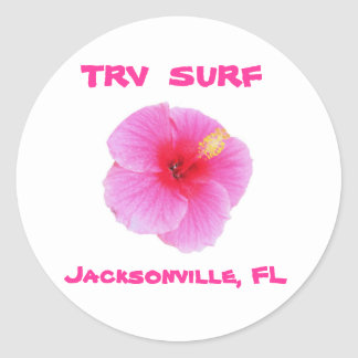 Hibiscus_pink2, TRV  SURF, Jacksonville, FL Classic Round Sticker