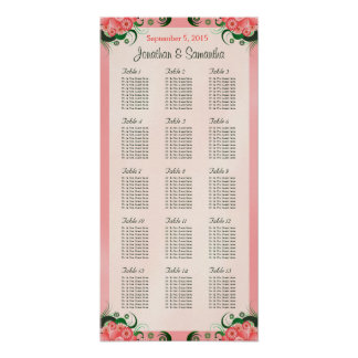 Hibiscus Pink 15 Wedding Tables Seating Charts Poster