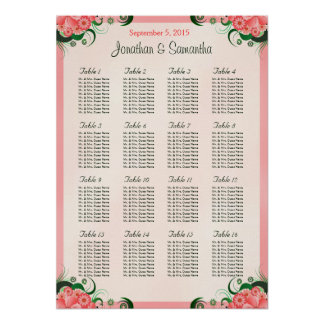 Hibiscus Pink 16 Wedding Tables Seating Charts Posters