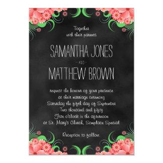 Hibiscus Pink Black Chalkboard Wedding Invitation