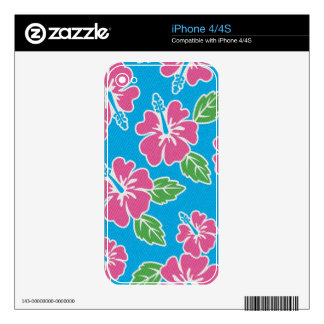 Hibiscus Pink Blue Decals For iPhone 4S