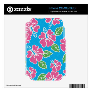 Hibiscus Pink Blue Skin For iPhone 2G