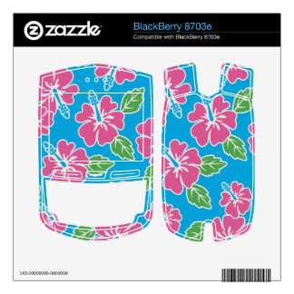 Hibiscus Pink Blue Decals For BlackBerry