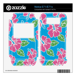 Hibiscus Pink Blue Decal For The Nokia E71
