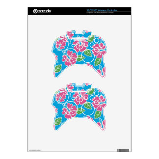 Hibiscus Pink Blue Xbox 360 Controller Decal