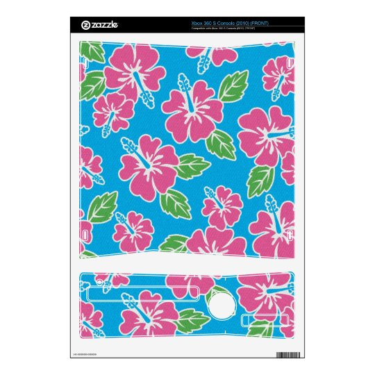 Hibiscus Pink Blue Xbox 360 S Console Decal