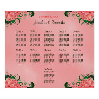 Hibiscus Pink DIY 11 Tables Wedding Seating Chart Poster