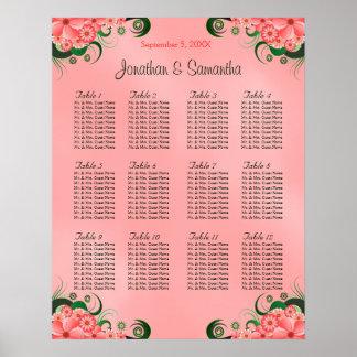 Hibiscus Pink DIY 12 Tables Wedding Seating Chart