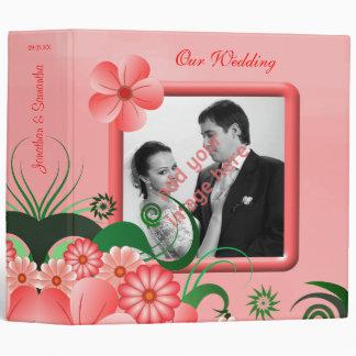 "Hibiscus Pink Floral 2"" Wedding Guest Book Album 3 Ring Binders"