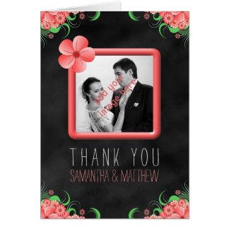 Hibiscus Pink Floral Black Wedding Thank You Cards