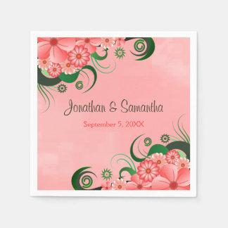 Hibiscus Pink Floral Custom Wedding Paper Napkins