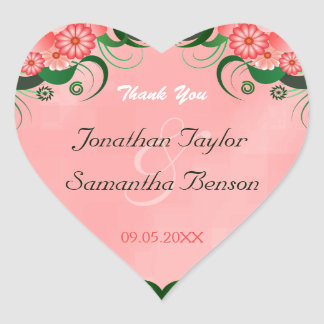Hibiscus Pink Floral Heart Wedding Favor Stickers