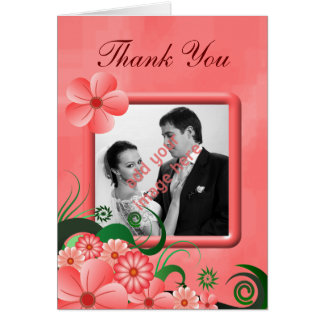 Hibiscus Pink Floral Photo Wedding Thank You Cards