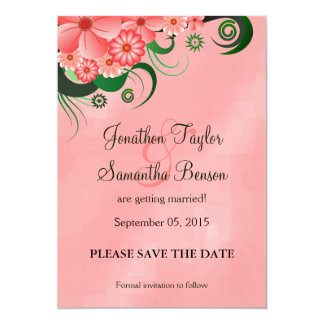 Hibiscus Pink Floral Save The Date Announcements