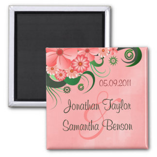 Hibiscus Pink Floral Save The Date Fridge Magnets