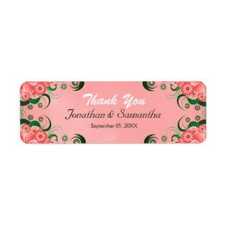Hibiscus Pink Floral Wedding Favor Favour Labels