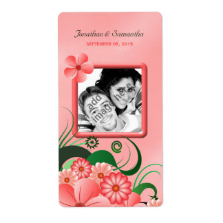 Hibiscus Pink Floral Wedding Photo Wine Labels