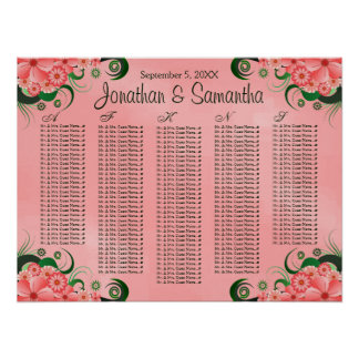 Hibiscus Pink Floral Wedding Table Seating Charts