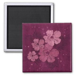 Hibiscus Pink Flowers Batik 2 Inch Square Magnet