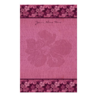 Hibiscus Pink Flowers Batik Stationery