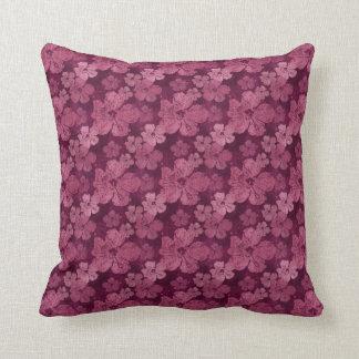 Hibiscus Pink Flowers Batik Throw Pillow