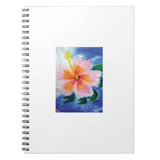 hibiscus,pink,maui,hawaii,tropical,flower spiral notebook