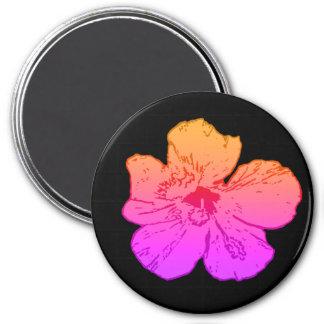 Hibiscus Pink on Black Magnet