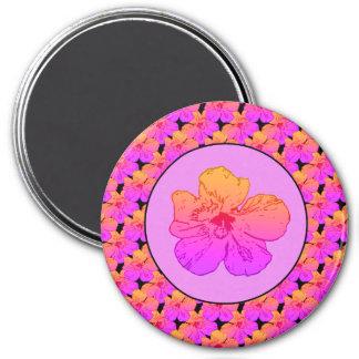 Hibiscus Pink on Black 3 Inch Round Magnet