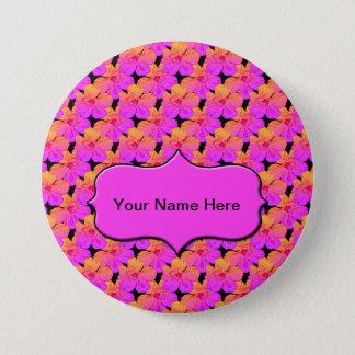 Hibiscus Pink on Black Pinback Button