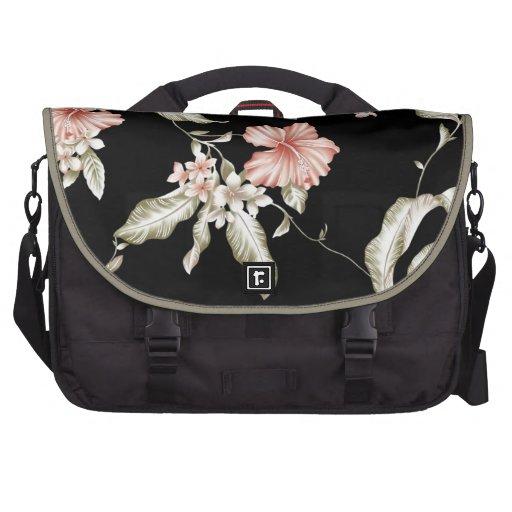 Hibiscus print in pink and black. laptop bag