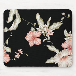 Hibiscus print in pink and black. mouse pad