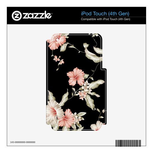 Hibiscus print in pink and black. decals for iPod touch 4G