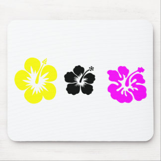 hibiscus purple black and yellow mouse pad