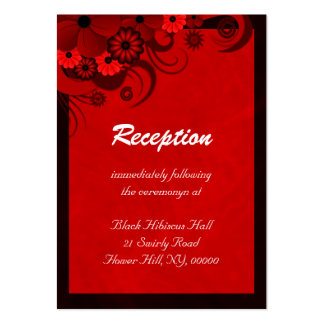 Hibiscus Red Floral Wedding Reception Enclosures Business Card
