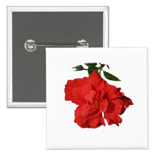 Hibiscus Red Flower Photograph Design 2 Inch Square Button