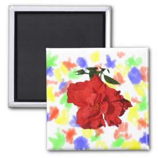Hibiscus Red Flower Photograph Design 2 Inch Square Magnet