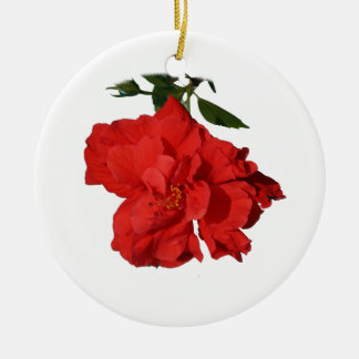 Hibiscus Red Flower Photograph Design Double-Sided Ceramic Round Christmas Ornament