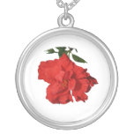 Hibiscus Red Flower Photograph Design Personalized Necklace