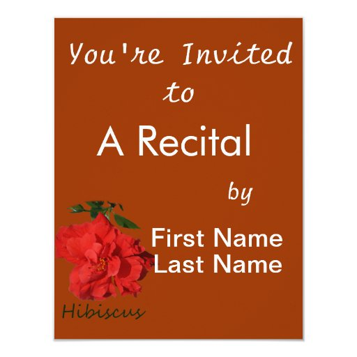 Hibiscus Red Flower With Text 4.25x5.5 Paper Invitation Card