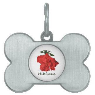 Hibiscus Red Flower With Text Pet ID Tag